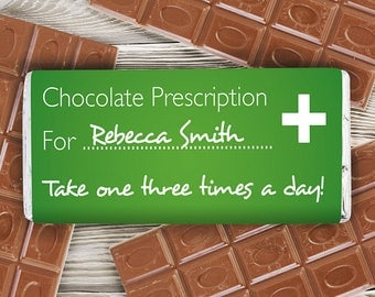 Personalised Prescription Chocolate Bar - Get Well Soon Gift Idea Funny Novelty