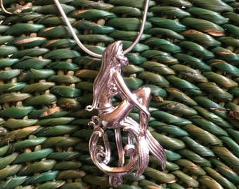 Sterling Silver Cage Pendant ~ Mermaid