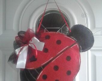 Lady Bug Burlap Door Hanger
