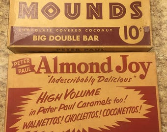 Vintage Almond Joy and MOUNDS candy bar boxes