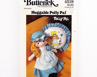 """Vintage Butterick Pattern 4519, Huggable Polly Pal Doll, Clothes, and Pillow with Iron-On Transfer, 26"""" Stuffed Cloth Doll Pattern, Uncut"""