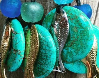 Turquoise donut with gold or silver toned Fishing Lure