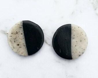 Large Black and Granite Earrings