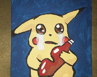 CANVAS SALE Pikachu and His Ketchup Painting