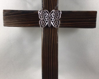 Rustic Reclaimed Wood Cross With Silver-Colored Butterfly Accent