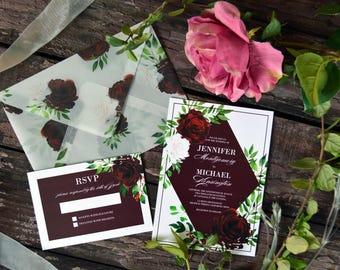 Geometrical Wedding Invitation, Marsala Wedding Invitations, Floral Watercolor Invites, Vellum