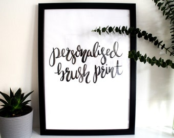 Personalised Brush Lettered Typographic Art