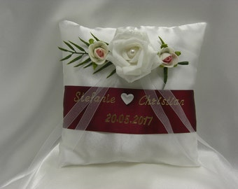 Ring pillow, wedding, red, ring carrier Pillow