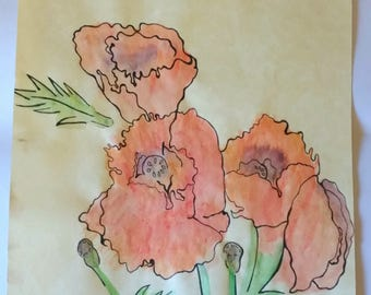 Watercolour Chinese Poppies, A4 Original Illustration, One of a Kind, Hand Drawn, Parchment Paper