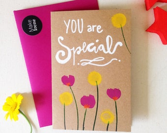 """Hand painted notecards """"you are special"""" hand-painted greeting card & envelope"""