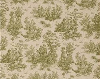 Sage Green and Ivory Toile Fabric by Premier Prints no.117