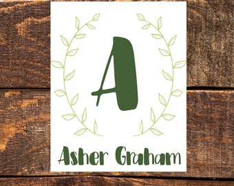 Boy's Name and Initial- Wall Art Print, Instant Download, Printable Wall Decor