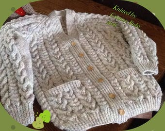 Adults Aran Cardigan with pockets
