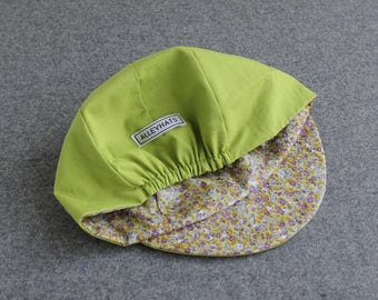 Lime green cycling cap with floral lining