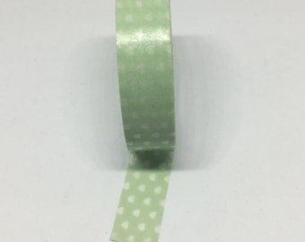 Washi Tape - Green and White Polka Dot Washi Tape - Decorative Tape - Adhesive