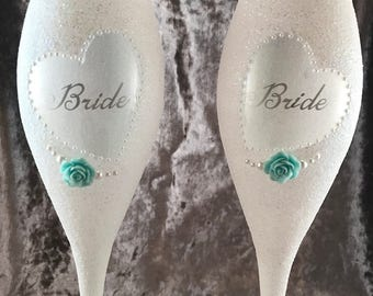 Bride and Bride or Mrs and Mrs champagne flutes