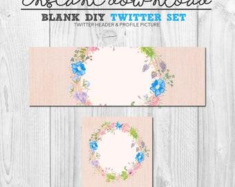 diy floral twitter set, premade social media page design, instant download diy twitter flower wreath cover image set, twitter header package
