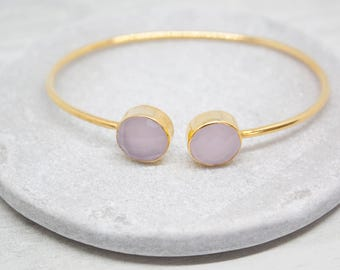 Yellow Gold bangles chalcedony pink