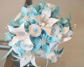 Origami Flower Bouquet, Wedding Bouquet, Bridal Bouquet, Bridesmaid Bouquet, Paper flower Bouquet, Flowers. Turquoise, White, lilies, roses