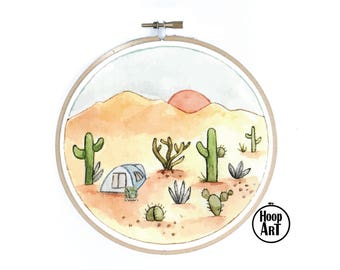 Sunset Campsite Embroidery Hoop Wall Art