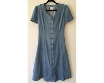 Denim Dress / 90s Dress/ Button Up Dress/ Short Sleeve Dress / Summer Dress