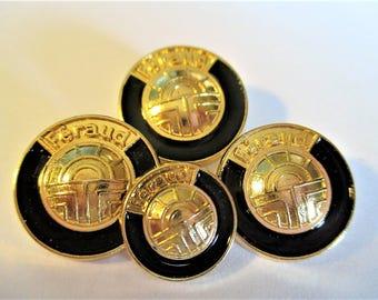 Vintage Feraud Black Gold Buttons, Vintage Feraud Coat Buttons, French Gold Buttons,