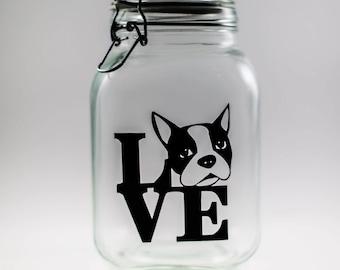 Boston Terrier Love Glass Canister