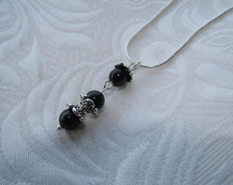 Silver plated necklace with black tourmaline charm
