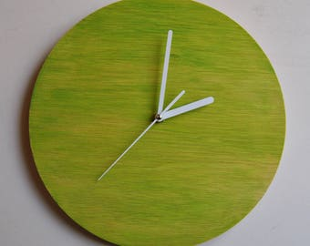 Hand painted. Wall clock Pistachio. Plywood. Silent.
