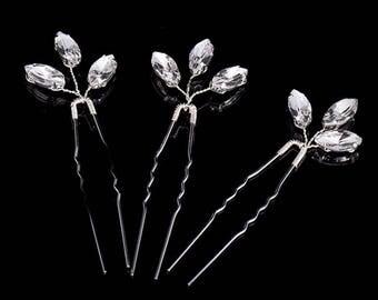 3pcs SET Beautiful Wedding Shiny Crystals Silver Colour Bridal Hair Pins