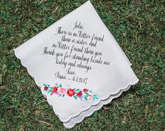 Wedding Handkerchief, Sister Handkerchief, Maid of Honor handkerchief, Sister thank you gift, custom handkerchief, Printed Hankie -27