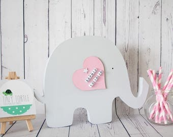 Wooden freestanding elephant, new baby gift, christening gift, birthday gift, nursery decor, elephant nursery, personalised gift