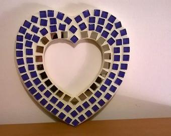 Blue mosaic heart, mosaic blue heart fram framework