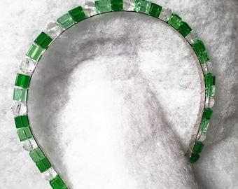 Beaded Glass: Green Ice Divaband