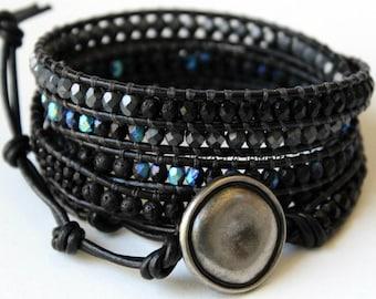Leather Wrap Bracelet, Black Wrap Bracelet, Wounded Warrior, Leather Beaded Wrap Bracelet, Leather Wrap, Men's Wrap Bracelet, Wrap Bracelet
