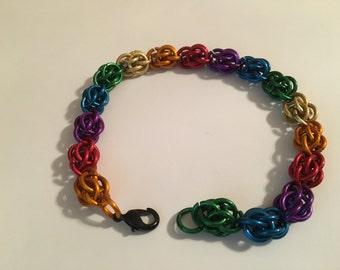 Pride Chainmail Sweet Pea Bracelet
