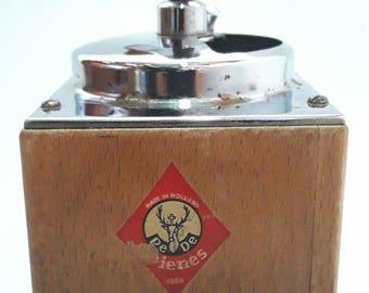 Vintage Coffee Grinder 50's PE DE Dienes Wooden Coffee Pepper Mill Made In Holland