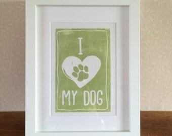 Original linocut 'I Love My Dog' print
