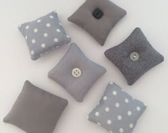 Dollhouse scatter cushions grey 1:12 scale