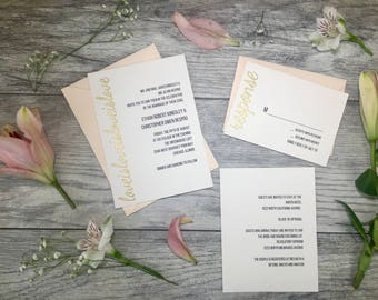 White Love is Love is Love Wedding Invitations // Custom Wedding Invitations // Gay and Lesbian Wedding Invitations // Embossed Invitations