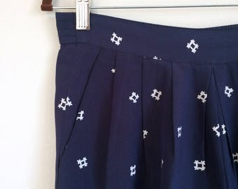 High Waist Navy Patterned Pant
