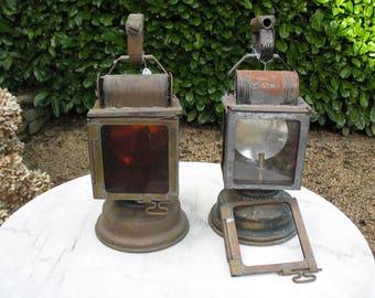 Two Vintage  French SNCF Railway Lanterns For Restoration