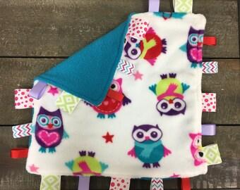 Minky Fleece Owl Turquoise Baby Girl Taggy Blanket
