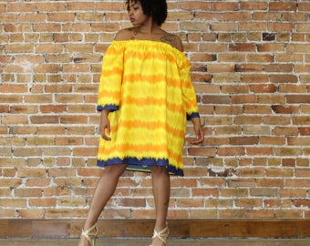 Ankara Off The  Shoulder  Dress