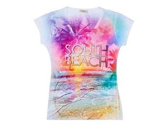 South Beach, Miami, Florida shirt, Beach Tee, Tropical shirt, Scenic Beach Tee, Sunsets and Beach, Ladies shirt,Women's Tee, Women's T-shirt