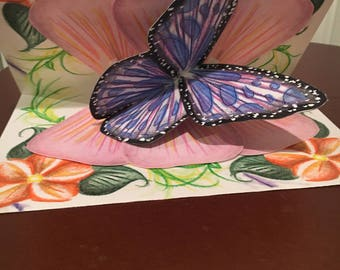 Pop-up Blue Butterfly on Pink Flower Greeting Card