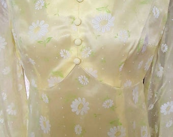 Absolutely gorgeous yellow handmade organza and satin dress/ yellow dress with white Daisy's/ 1960s dress/ handmade 60s/ organza and satin