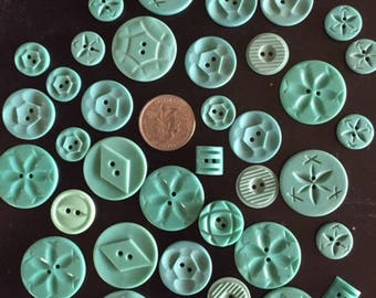 Old Turquoise Plastic Buttons, Vintage Turquoise Buttons, Antique Blue Buttons, 1940's Plastic Buttons, Turquoise Colored Buttons