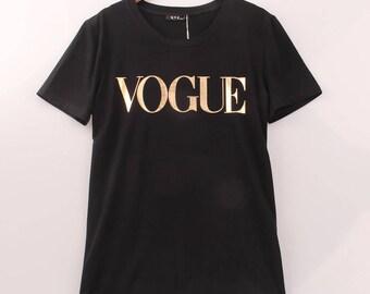 VOGUE t-shirt, GOLD VOGUE tee