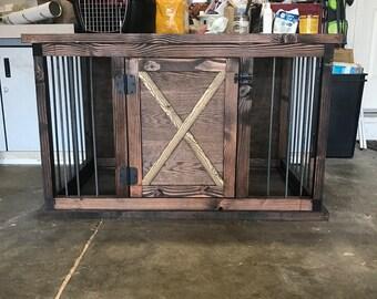 4' handmade dog kennel with solid door